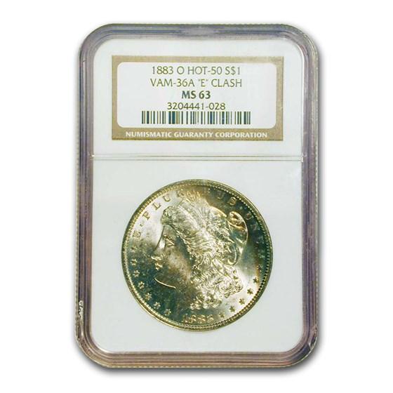 1883-O Morgan Dollar MS-63 NGC (VAM-36A, E Clash)
