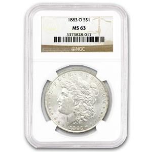 1883-O Morgan Dollar -MS-63 NGC (VAM-36A, Partial E Rev, Hot-50)