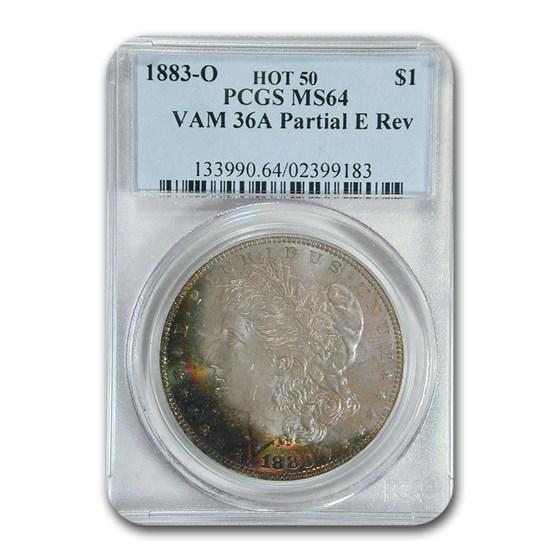 1883-O Morgan Dollar MS-64 PCGS (VAM-36A Partial E Rev.)
