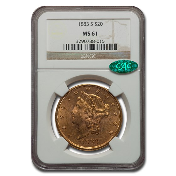 1883-S $20 Liberty Gold Double Eagle MS-61 NGC CAC