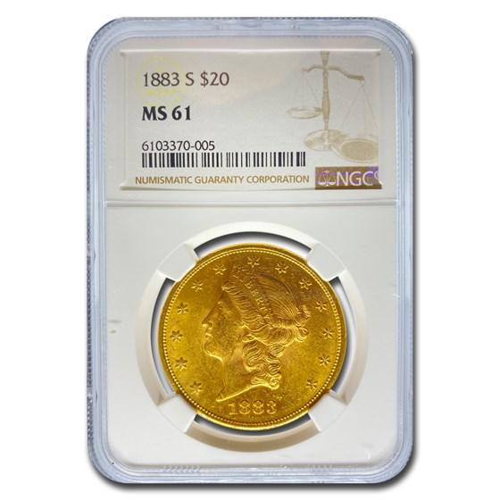 1883-S $20 Liberty Gold Double Eagle MS-61 NGC