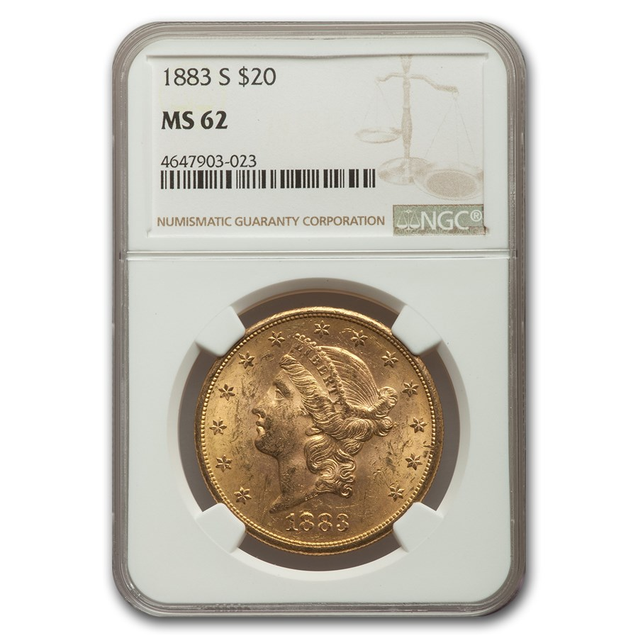 1883-S $20 Liberty Gold Double Eagle MS-62 NGC