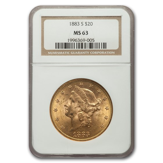 1883-S $20 Liberty Gold Double Eagle MS-63 NGC