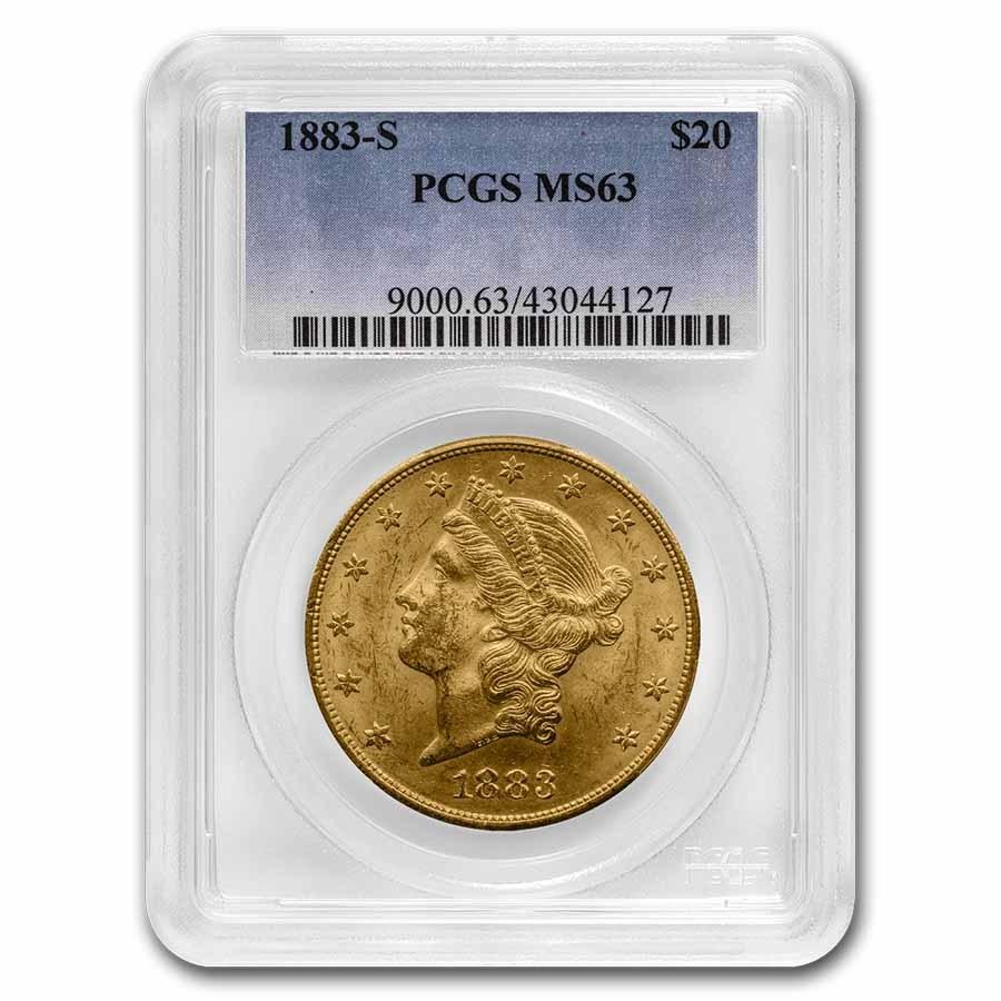 1883-S $20 Liberty Gold Double Eagle MS-63 PCGS