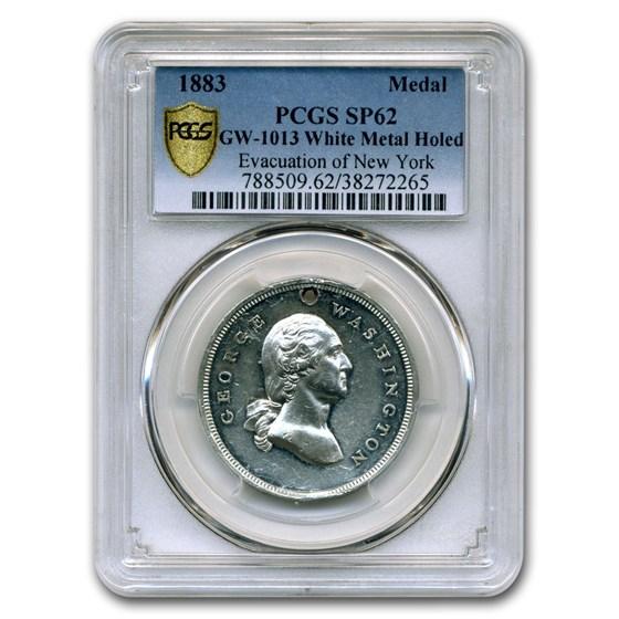 1883 Washington Medal SP-62 PCGS (White Metal, Holed)
