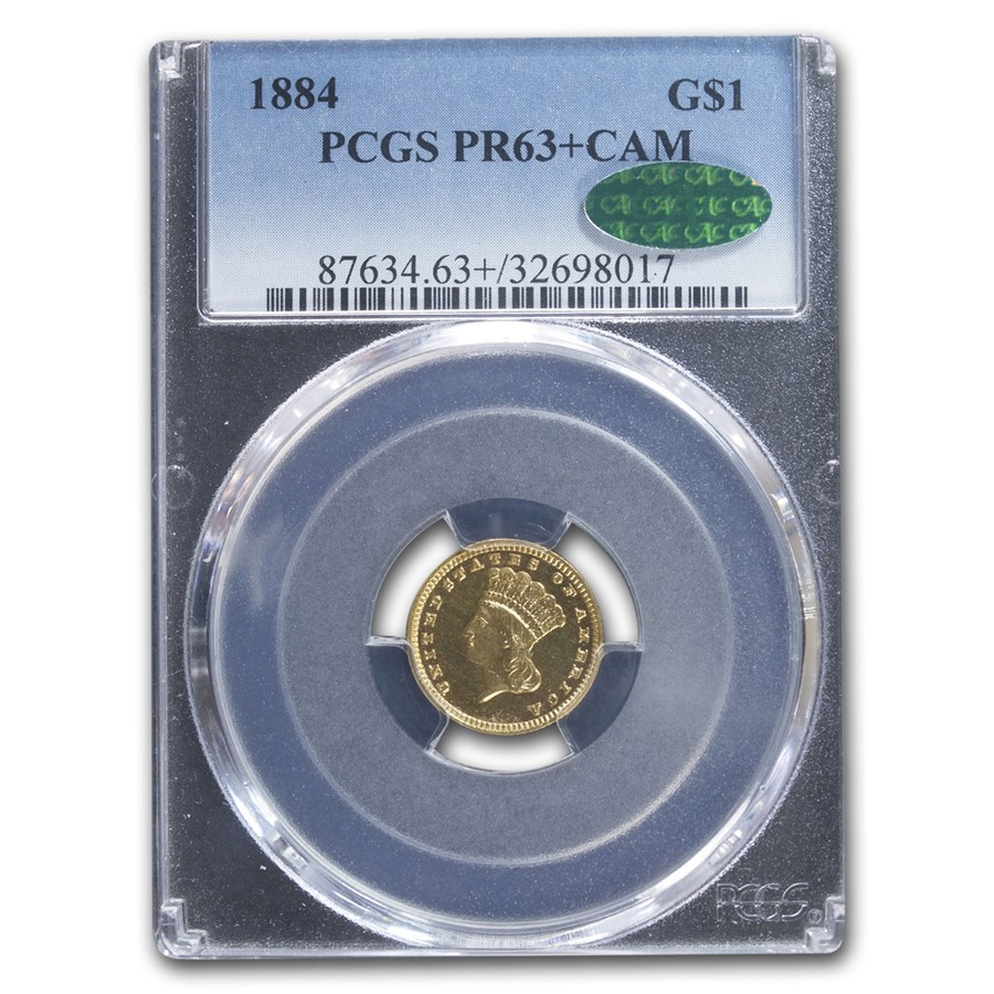 1884 $1.00 Indian Head Gold PR-63+ Cameo PCGS CAC