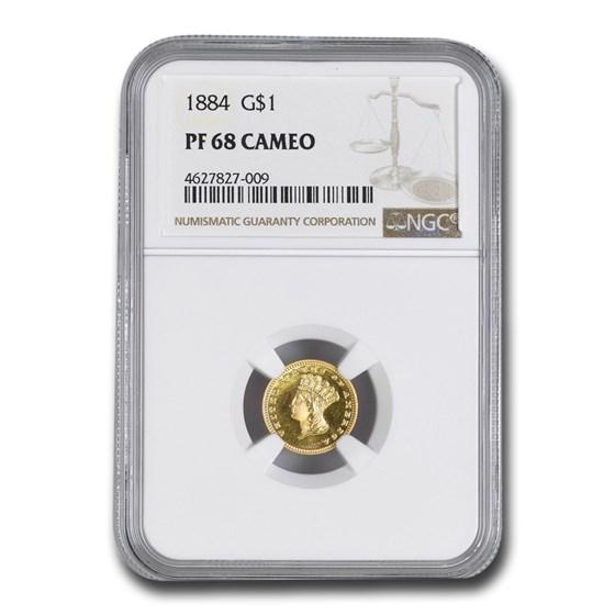 1884 $1 Indian Head Gold Dollar PF-68 Cameo NGC