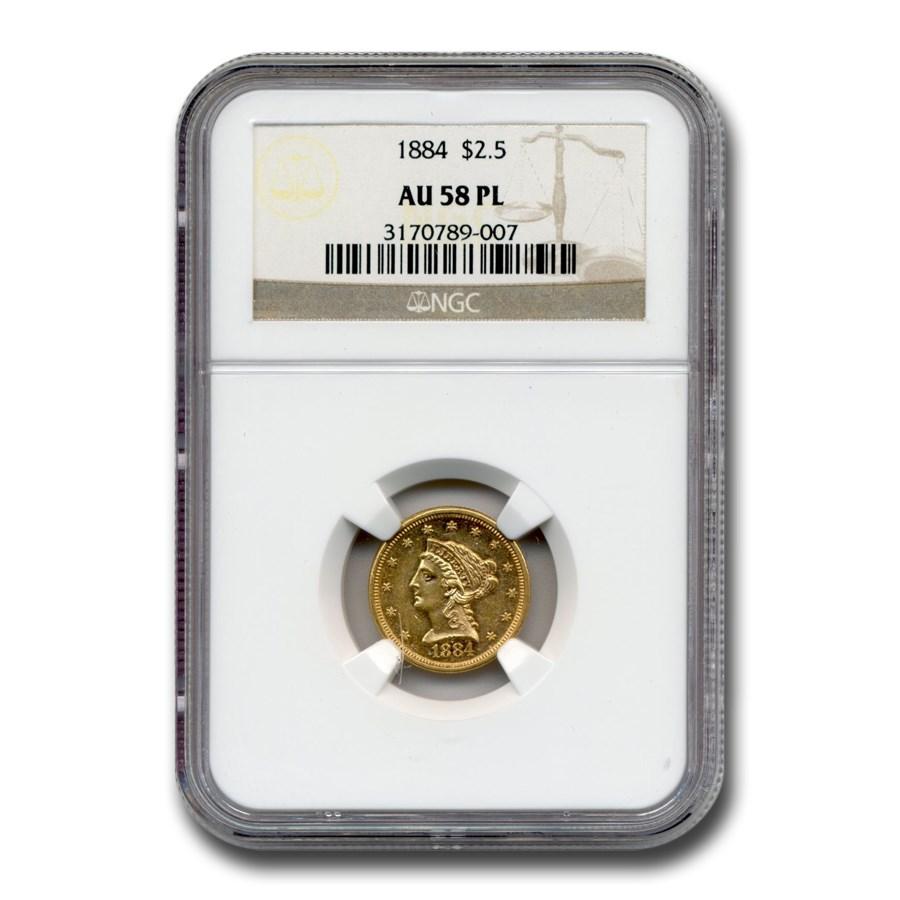 1884 $2.50 Liberty Gold Quarter Eagle AU-58 NGC (PL)