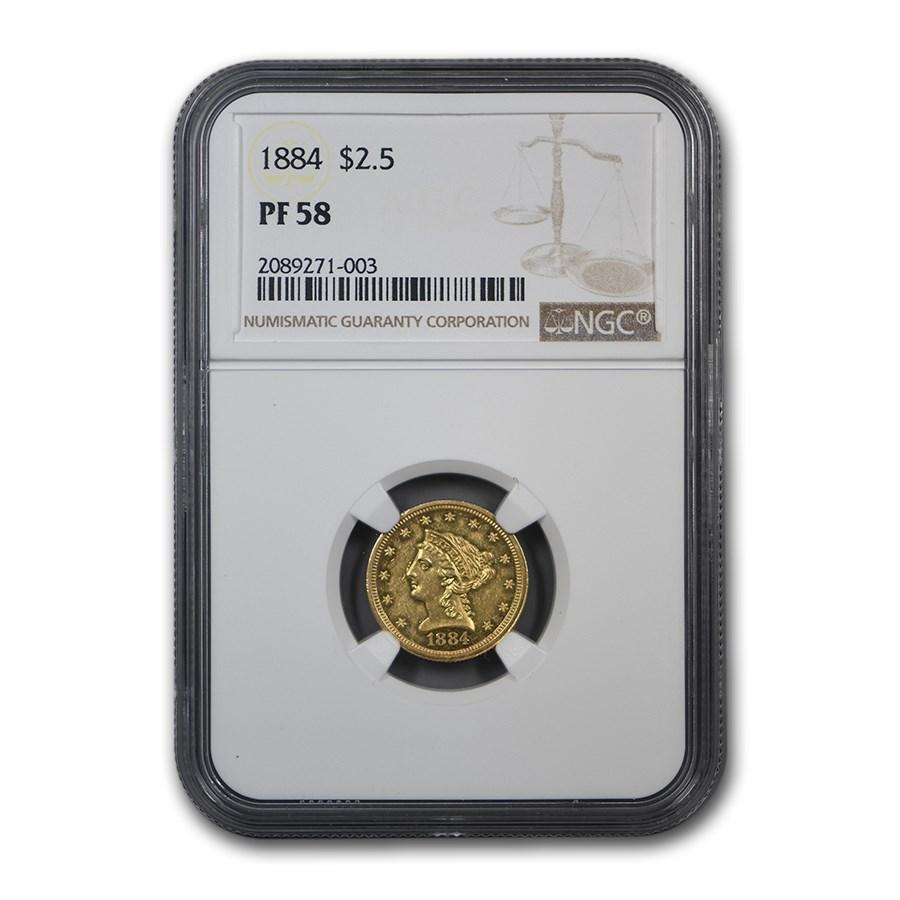 1884 $2.50 Liberty Gold Quarter Eagle PF-58 NGC
