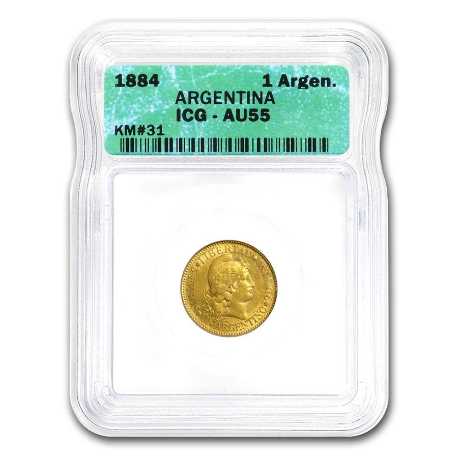1884 Argentina Gold 1 Argentino AU-55 ICG