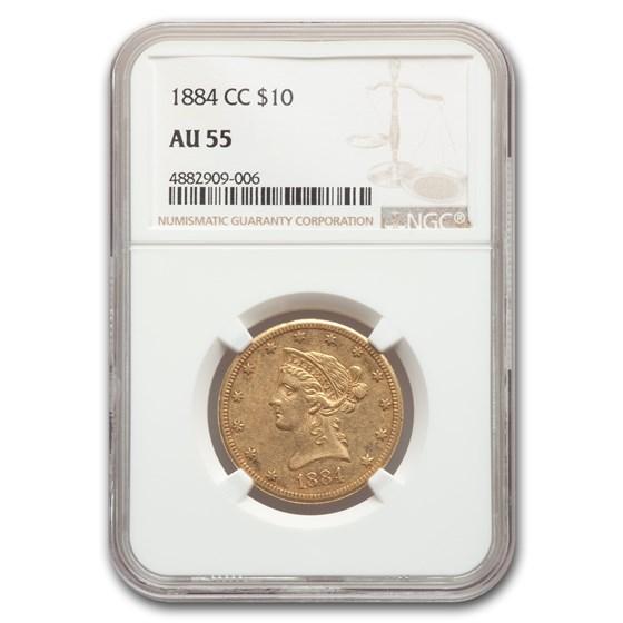 1884-CC $10 Liberty Gold Eagle AU-55 NGC