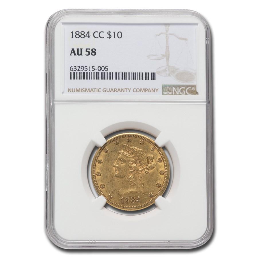 1884-CC $10 Liberty Gold Eagle AU-58 NGC