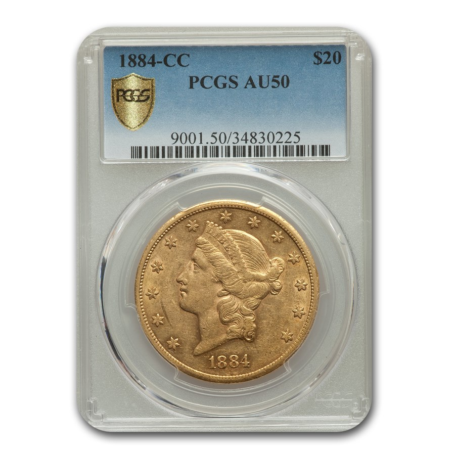 1884-CC $20 Liberty Gold Double Eagle AU-50 PCGS