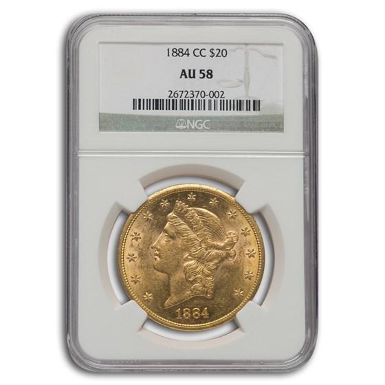 1884-CC $20 Liberty Gold Double Eagle AU-58 NGC