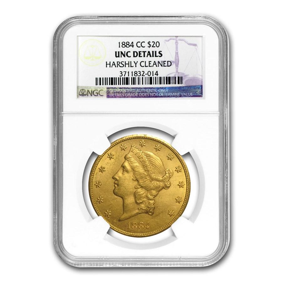 1884-CC $20 Liberty Gold Double Eagle BU Details NGC