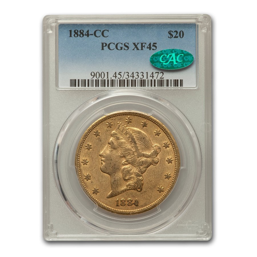 1884-CC $20 Liberty Gold Double Eagle XF-45 PCGS CAC