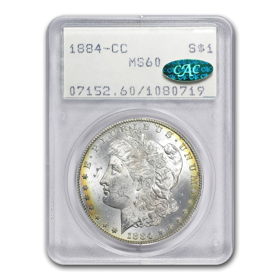 1884-CC Morgan Dollar MS-60 PCGS (CAC, Old Rattler Holder)