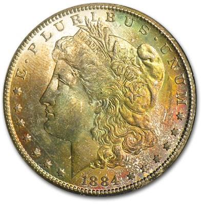 1884-CC Morgan Dollar MS-64 (Rainbow Toned Obv, GSA Holder)
