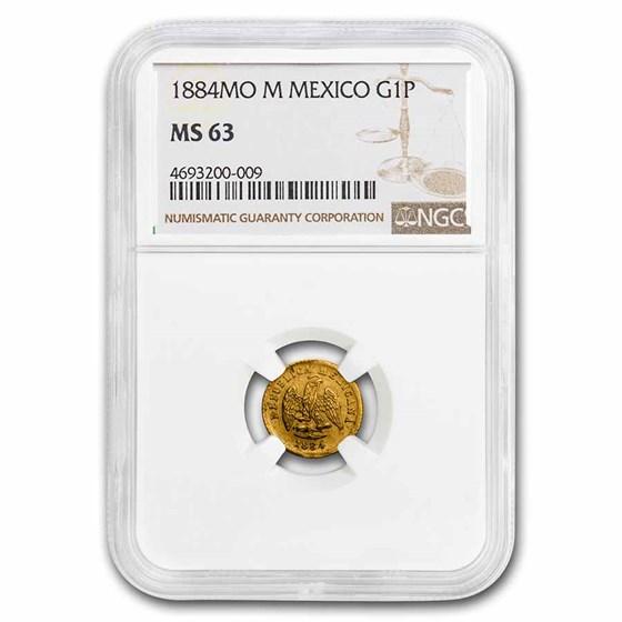 1884 Mo M Mexico Gold Peso MS-63 NGC
