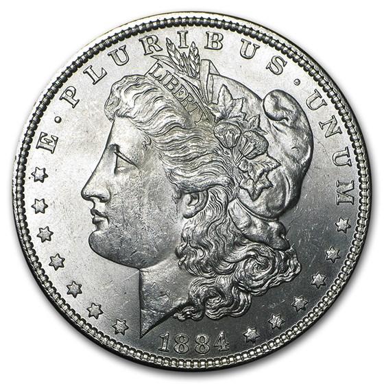 1884 Morgan Dollar BU (VAM-2A, E Rev Hot-50)
