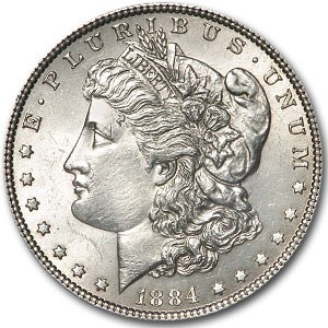 1884 Morgan Dollar MS-60 Details (VAM-2A, E on Rev, Cleaned)