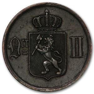 1884 Norway Bronze 2 Ore Oscar II XF