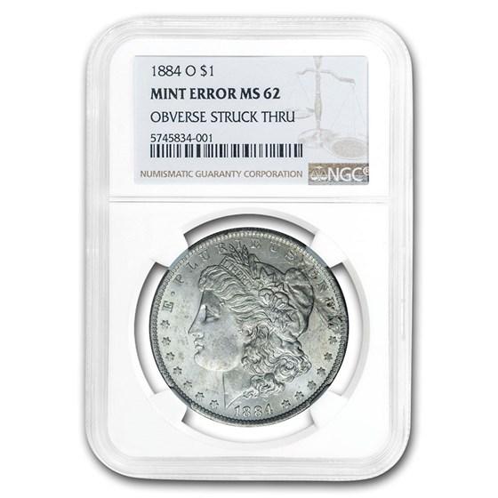 1884-O Morgan Dollar Mint Error MS-62 NGC (Obv Struck Thru)