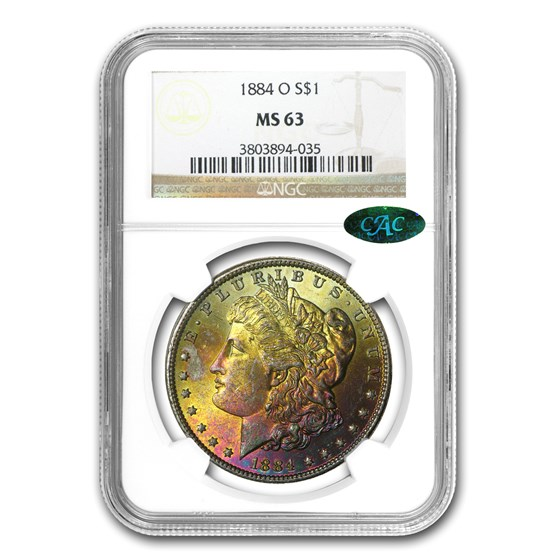 1884-O Morgan Dollar MS-63 NGC (CAC, Beautiful Sunset Toning)