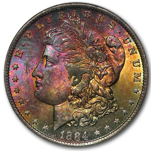 1884-O Morgan Dollar MS-63 NGC (Obverse Toning)