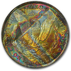 1884-O Morgan Dollar MS-63 PCGS (End of Roll Toning)