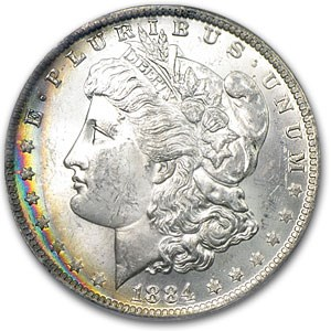 1884-O Morgan Dollar MS-63 PCGS (Obv Rainbow Crescent Toning)