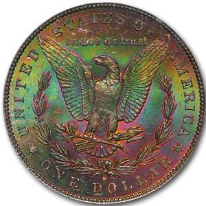 1884-O Morgan Dollar MS-63 PCGS (Rainbow Rev Toning)