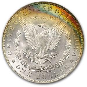 1884-O Morgan Dollar MS-63 PCGS (Rev Rainbow Crescent Toning)