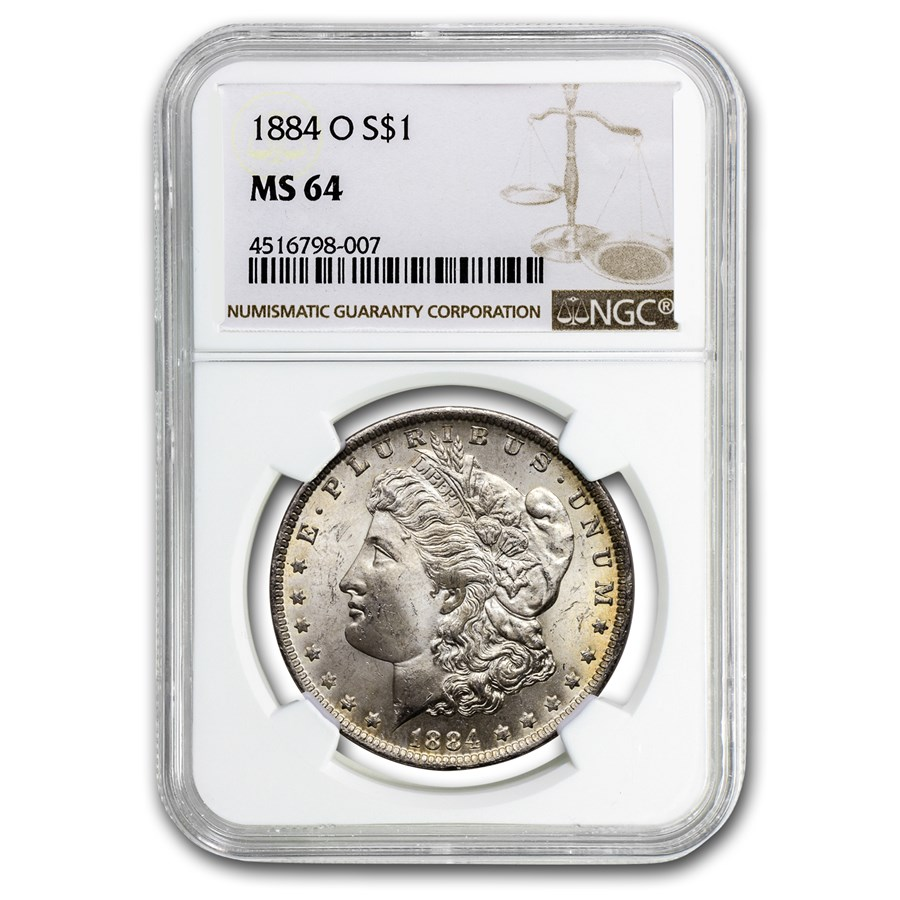 1884-O Morgan Dollar MS-64 NGC (Reverse Toning)