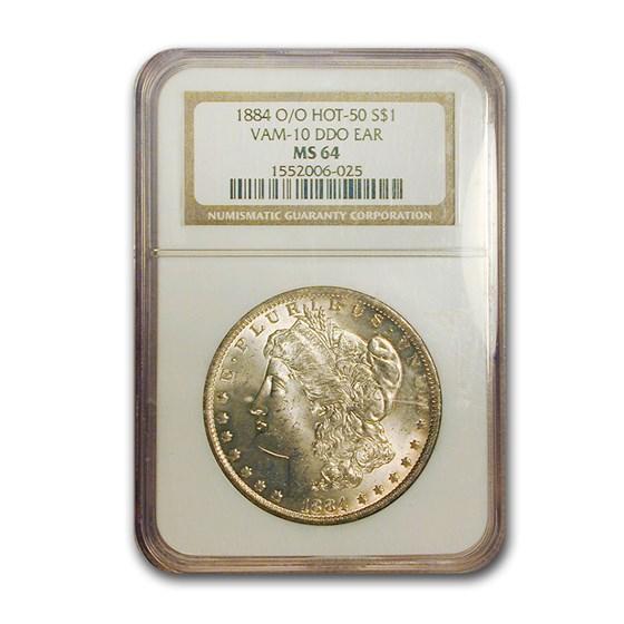 1884-O/O Morgan Dollar MS-64 NGC (VAM-10 DDO Ear, Hot-50)