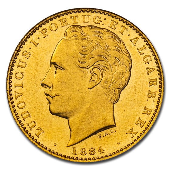 1884 Portugal Gold 10,000 Reis King Luiz I MS-61 NGC