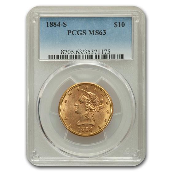 1884-S $10 Liberty Gold Eagle MS-63 PCGS