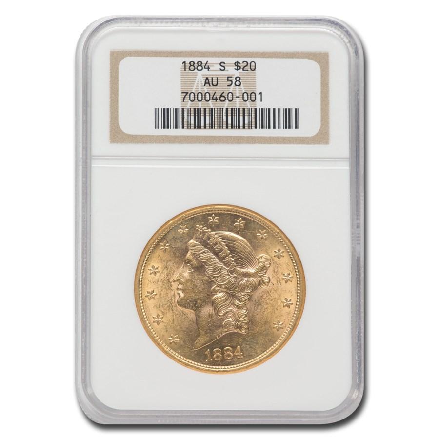 1884-S $20 Liberty Gold Double Eagle AU-58 NGC