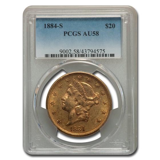 1884-S $20 Liberty Gold Double Eagle AU-58 PCGS