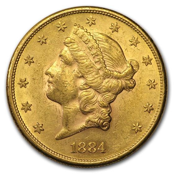 1884-S $20 Liberty Gold Double Eagle AU