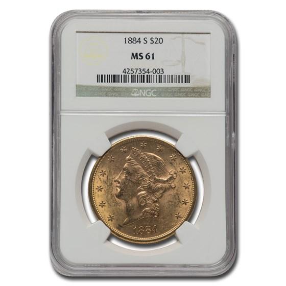 1884-S $20 Liberty Gold Double Eagle MS-61 NGC