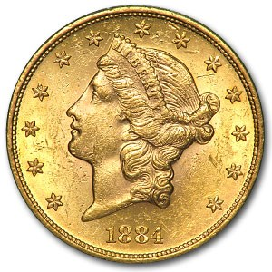 1884-S $20 Liberty Gold Double Eagle MS-62 Details (Hairlines)