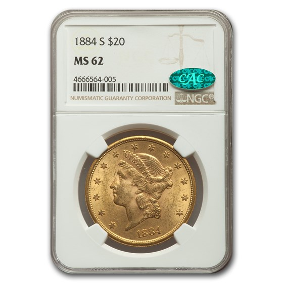 1884-S $20 Liberty Gold Double Eagle MS-62 NGC CAC