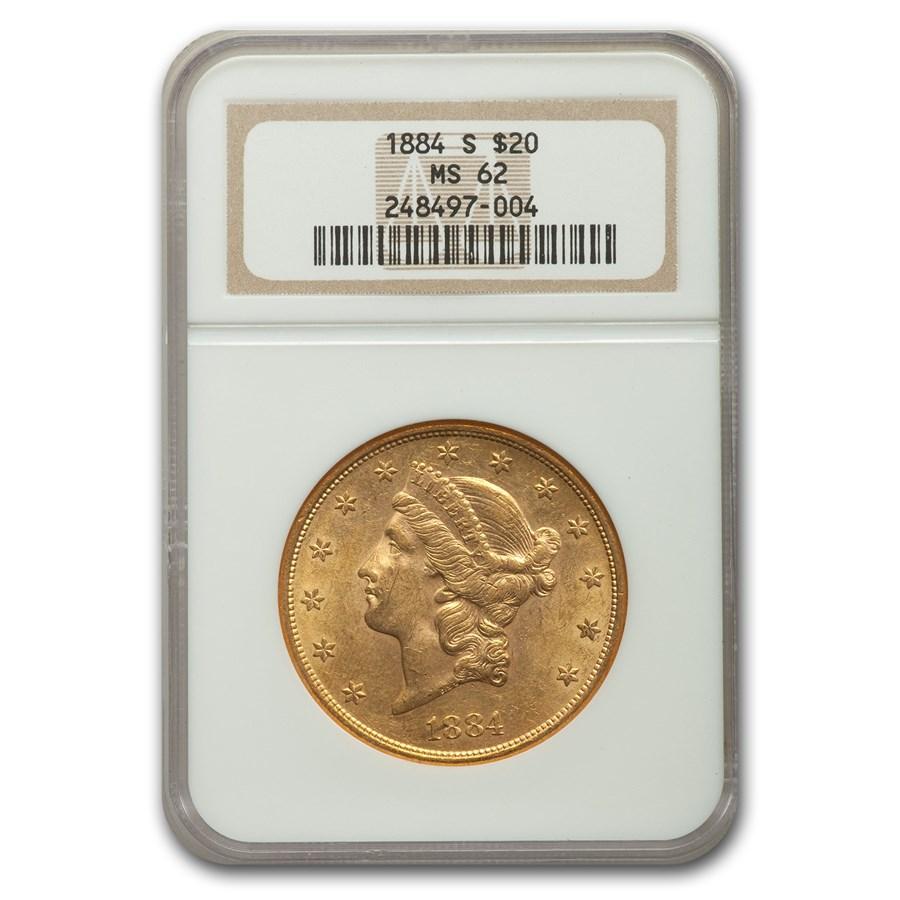 1884-S $20 Liberty Gold Double Eagle MS-62 NGC