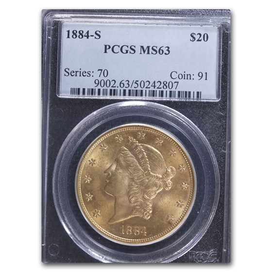 1884-S $20 Liberty Gold Double Eagle MS-63 PCGS
