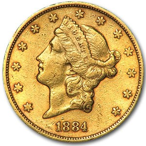 1884-S $20 Liberty Gold Double Eagle XF