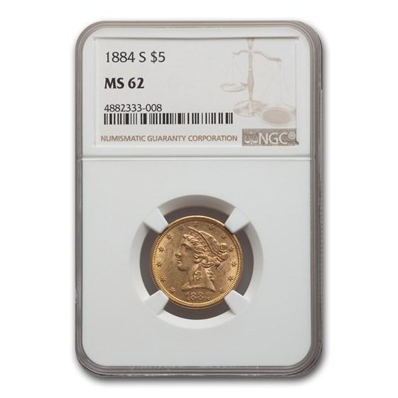 1884-S $5 Liberty Gold Half Eagle MS-62 NGC