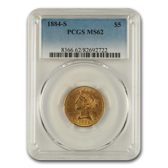 1884-S $5 Liberty Gold Half Eagle MS-62 PCGS