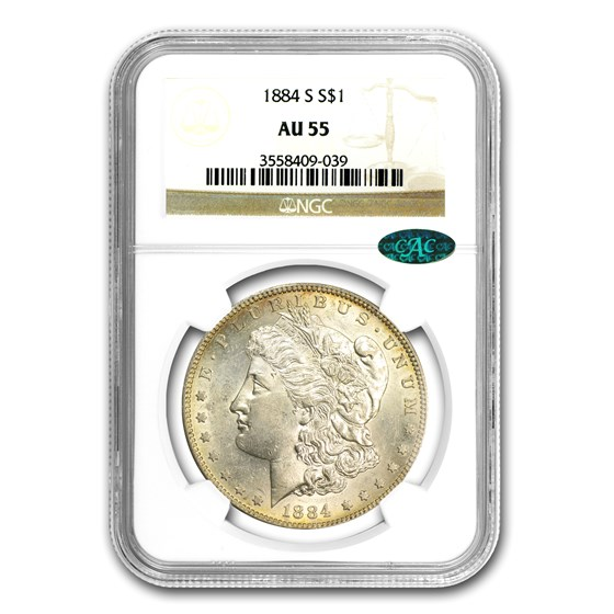 1884-S Morgan Dollar AU-55 NGC (CAC)