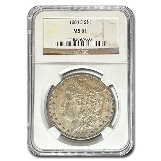 1884-S Morgan Dollar MS-61 NGC